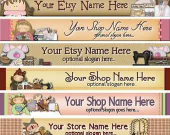 Premade Etsy Shop Banner - Etsy Banner - SHOP ICON - Arts and Crafts - Sewing Machine - Raggedy Annie - Homespun Fabrics