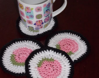 sushi coasters set of 4 crochet mug rugs