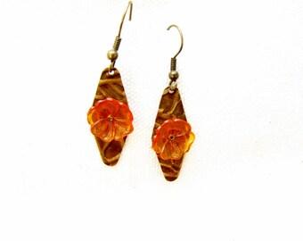 Metal disc embossed metal earrings Copper Brass Disc earrings Orange Resin Flower