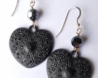 Black Heart Statement Earrings