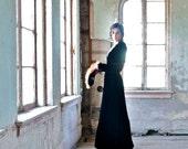 1930s Black Velvet Evening Gown