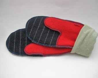 Upcycled wool mittens, lined for warmth, size medium