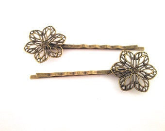 brass flower filigree bobby pins 62x20mm