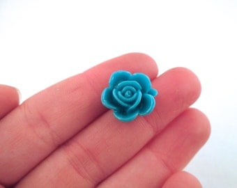 10 15mm teal blue rose cabochons, cute round flower cabs