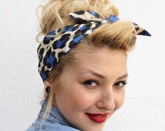 Blue Black Vintage Style 1950s Head Scarf / Hair tie