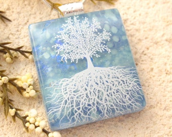 Tree of Life Necklace, Blue Necklace, Fused Glass Jewelry, Dichroic Jewelry, Glass Jewelry, Tree of Life, Glass Pendant, Silver, 111315p102