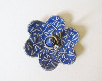 Dragonfly textured Ring Holder - Indigo Blue Ring Dish - Raised dragonfly texture Ring Bowl - Glazed in Kentucky Blue
