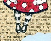 Original ACEO - Miniature art - original illustration , drawing  , acrylic painting on a vintage book page  - Book page art