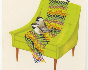 Crocheting chickadees.  Original collage by Vivienne Strauss.