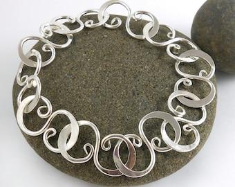 Hammered S-Link Bracelet Handmade Polished Sterling Curve - 8.5 inches 21.6cm