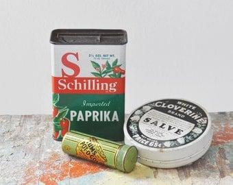 3 Vintage Empty Tins - Tums antacid , Schilling paprika, White Cloverine salve