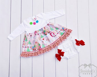 Christmas Infant Dress - Candy Christmas Dress - Baby Christmas Outfit - Candy Dress Set - Holiday Custom Newborn to 2T - Gingerbread House
