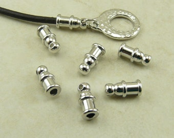 6 TierraCast 2mm Pagoda Leather Cord End - Shiny Silver Rhodium Oxide Plated Lead Free Brass - I ship Internationally 0200