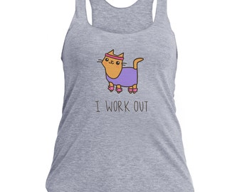 Women's Workout Tank Top Fitness Cat I Work Out Cute Cat Tank Top Cute Gift For Her