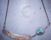 Folk Feather Necklace No.2, Sterling Silver, Turquoise