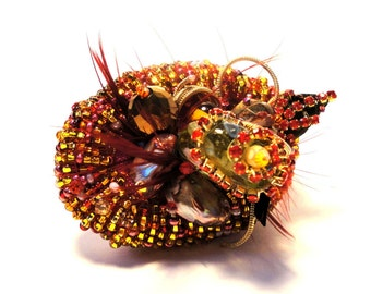 Beaded fantasy Cocktail Cocktail Ring, red- rust