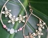 Hawaiian Flower Hoops - 14k Gold Filled or Sterling Silver
