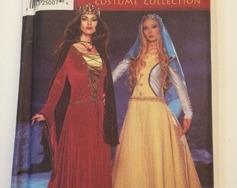 Medieval Renaissance Costume Collection Pattern Simplicity 9758 Adult Misses sizes 6,8,10,12