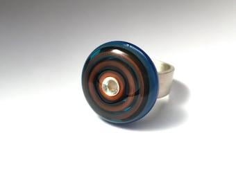 Glass + Silver Bullseye Ring. One Of A Kind Jewelry. Modern Aqua Blue + Orange Flamework Wearable Art. Circles