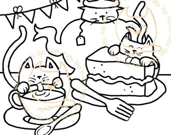 Digi Stamp Instant Download. Kit T and Cake (decoupage set) - Knitty Kitty Digis No. 29