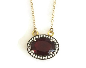 Garnet gemstone with pave rhinestone necklace, Perfect gift for her!