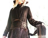 Gatsby Mink and Velvet 1920's Day Coat and Skirt as found