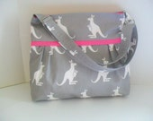 Diaper Bag - Gray Kangaroo - Pinkl - Adjustable Strap - Kangaroo Diaper Bag - Messenger Bag - Bags and Purses -  Stroller Straps