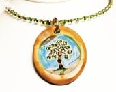 Tree Sparkle Surly Necklace with Swarovski Crystals in Earth Tones