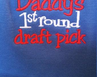 I'm Daddy's #1 Draft Pick Football Blue Red White Baby Bib