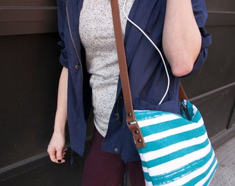 Crossbody Teal Brush Stripe, Geometric, Canvas, Screen Printed Day Bag-Ready to Ship