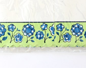 Vintage Shelf Paper - Mod Retro Blue Green Flowers 1970s