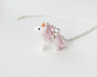 Cute Tiny Pink Unicorn Charm Necklace