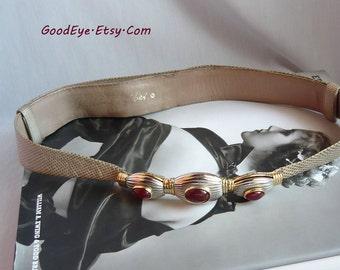 Vintage Judith LEIBER Cinch Belt Carnelian Triple Stone  Lizard and Leather Adjustable small Medium