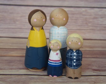 Custom Peg Doll Family of Four // personalized peg dolls // custom family portrait // heirloom gift