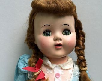 Rare 1950's Eegee Susan Stroller Walking Doll with Original Dress Shoes Turns Head Cries Walks Sleeping Eyes