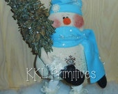 "17"" Folkart Flakey Snowman And His Rag Tree Doll Decoration"