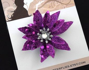 Purple Glitter Flower Hair Clip - Retro Glam Wedding Prom Rockabilly - Buy 3 Items, Get 1 Free