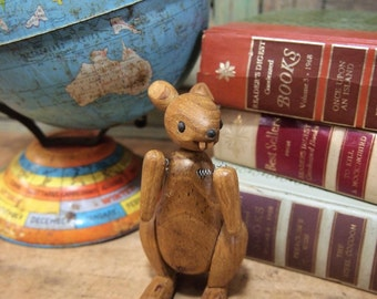 Free Shipping Jointed Wood Teak Kangaroo Doll  Zoo Line 1957 in the style of   Kay Bojesen and Hans Bolling Toy