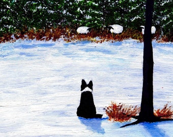 Border Collie FOREST EDGE limited edition reproduction art print of Todd Young painting
