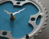 Bicycle Gear Clock - Turquoise  | Bike Clock | Wall Clock | Recycled Bike Parts Clock