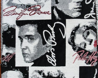 Marilyn Monroe, Elvis Presly, James Dean Hollywood Gobelin Fabric 4 Sample Pieces