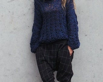 Chunky sweater, blue sweater, Navy blue slouchy sweater, chunky knit, loose knit