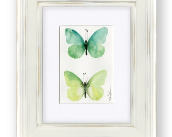 Original Abstract Butterfly Watercolor Painting in Shabby Chic, Cottage Style Frame, green, lime, forest green by Kathy Morton Stanion EBSQ