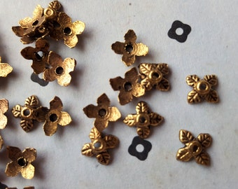 Antiqued Gold leaves Bead caps (100)
