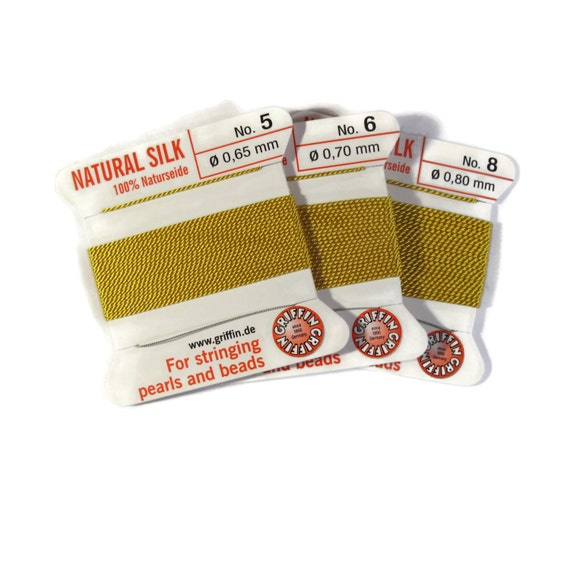 Size 5, 6 or 8 : Lemon Yellow Cord, 100% Silk Cord with Built-In Stainless Steel Needle for Jewelry & Hand Knotting, 2 Yard Spool