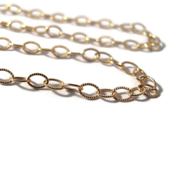 Gold Textured Chain, Oval Cable Chain By The Foot, 14/20 Gold Filled Corrugated Chain For Making Jewelry (10038f)