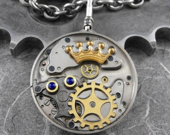 Reversible Regal Pocket Watch Pendant Necklace - The Careful and Loving Monarch by COGnitive Creations