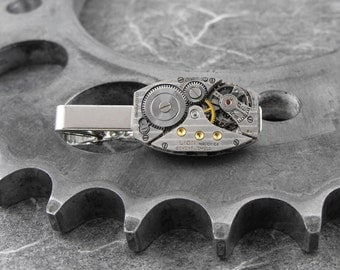 Steampunk Mechanism Silver Tie Clip - Mechanical Perfection by COGnitive Creations
