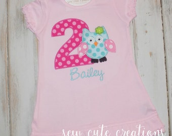 Personalized Owl Birthday Dress Personalized Owl Dress Birthday dress Girl Birthday Dress sew cute creations