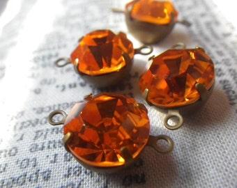 Sparkly Swarovski Hyacinth Orange 48SS or 11mm Round Brass Ox Connectors